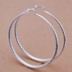 Large sterling silver hoop earrings NWOT